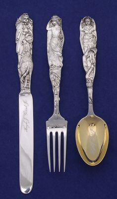 American Gilded Age - Tiffany & Company, New York City - Sterling Silver Youth Set, c.1904. Depicting Fairytale Characters (left to right) Knife - Little Red Riding Hood, Fork - Little Bo Peep, and Spoon - Jack and Jill. ~ {cwl} ~ (Image: Spencer Marks, LTD.)
