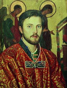 Ilya Glazunov. Portrait of the Son Ivan (in the ancient Russian costume). 1994