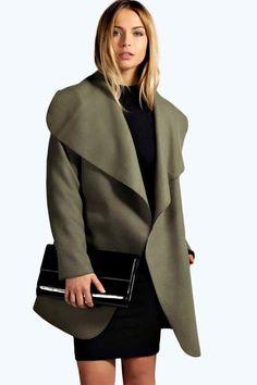 f56a36247c7e boohoo Abigail Waterfall Coat Black Waterfall Coat, Khaki Coat, Mantel,  Bomber Coat,