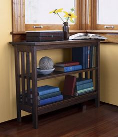 Mission Under-Window Bookshelf from LL Bean.  Fits under window at top of stairs, but may be a bit too wide.