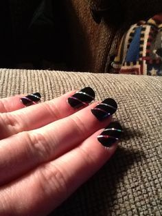 Black base with nail tape pink and silver