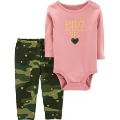 Kids Outfits Girls, Toddler Outfits, Girl Outfits, Camo Outfits, Girls Wear, Baby Girl Camo, Carters Baby Girl, Baby Girls, Daddys Little Girls