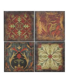 Create an atmosphere of traditional elegance. With a richly exquisite design, this set of wall art offers a luxurious way to create a warm and welcoming atmosphere in any room of the home.Includes four piecesEach piece: 18'' W x 18'' H x 1'' DMetalWipe cleanReady to hangImported