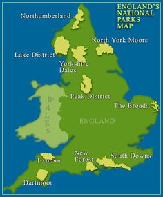 Map showing National Parks in England, including Northumberland! England Map, Hampshire England, Map Of Britain, Great Britain, Northumberland Coast, Celtic Nations, England National, Uk Trip, National Parks Map