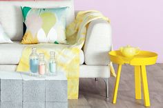 Bold colour Strong pops of primary colours, such as a boisterous bright-yellow side table, help in keeping a sorbet-hued...