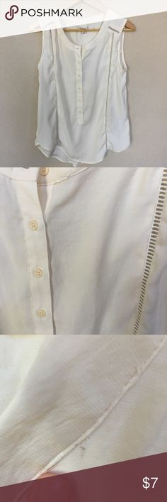 Merona sleeve-less blouse A beautiful cream color.  Great detail, with functioning buttons. A very small spot on front of top, barely noticeable when on. Merona Tops Blouses