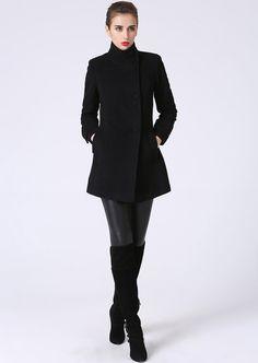 Black coat, wool coat, blazer, womens jackets, short jacket, black jacket, handmade coat, mod clothing, winter coat, gift for her (1070)