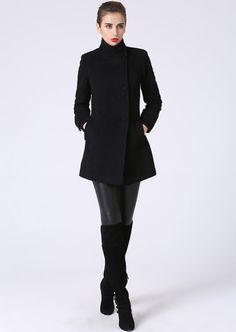 Long jacket, Black Coat, Hooded Coat, Wool coat, Coat dress, women ...
