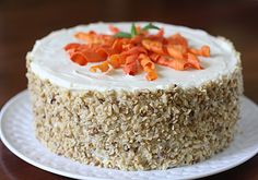 Carrot Cake with Cream Cheese Frosting and Candied Carrot Curls  from The Galley Gourmet