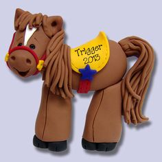 Cowboy's Western Horse  HANDMADE Polymer Clay Personalized Christmas Ornament by PersonalizedOrnament on Etsy https://www.etsy.com/listing/121090823/cowboys-western-horse-handmade-polymer