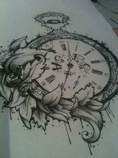 Pocket watch tattoo design...Want the watch without the flowers and with a Fight Club quote by krista