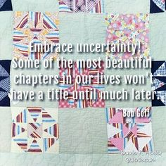 Don't let uncertainty keep you from starting! Pushing through the uncertainty opens doors you never thought possible! Vintage quilt found by my friend Irene in Kentucky! Positive Quotes For Life, Daily Quotes, Bob Goff, Quilting Quotes, Bonnie Hunter, Simple Quotes, Perfect Timing, Star Quilts, Vintage Quilts