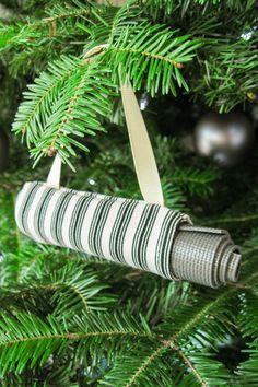 Christmas Tree Ornament Yoga Mat Bag  Red Ticking Stripe  Yoga