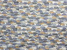 Liberty Fabric Cotton Tana Lawn Brown Cars Print