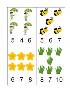Spring Activities for Kids Kindergarten Math Activities, Montessori Math, Kindergarten Math Worksheets, Activities For Kids, Number Activities, Numbers For Kids, Numbers Preschool, Preschool Printables, English Grammar For Kids
