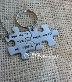 2 Puzzle pieces personalized keychain and necklace hand stamped his and her gift $25
