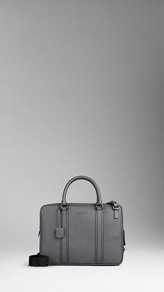 London Leather Crossbody Briefcase by Burberry
