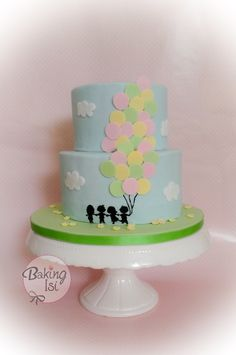 Balloon cake with handpainted children silhouette    ***   Eine Luftballon - Torte mit handgemalten Kindern