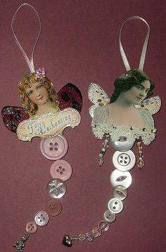 Button Ornaments, Diy Christmas Ornaments, Button Art, Button Crafts, Paper Dolls, Art Dolls, Victorian Crafts, Paper Crafts, Diy Crafts