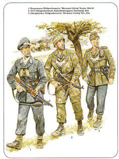 "LUFTWAFFE - 1 Hauptmann der Feldgendarmerie, ""Hermann Goering"" Korps, 1944-45 - 2 Unteroffizier der Feldgendarmerie, Fallshirmtruppen, Normandia 1944 - 3 Obergefreiter der Felgendarmerie, ""Hermann Goering "" PanzerDivision, 1944"