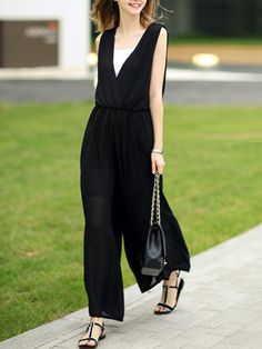 d65349ea26 Deep V-Neck Elastic Waist Hollow Out Plain Chiffon Wide-Leg  Jumpsuit-Berrylook