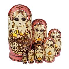 7pcs Wooden Russian Matryoshka Doll Handmade Nesting Crafts Kids Toy Home Decor Dolls & Stuffed Toys