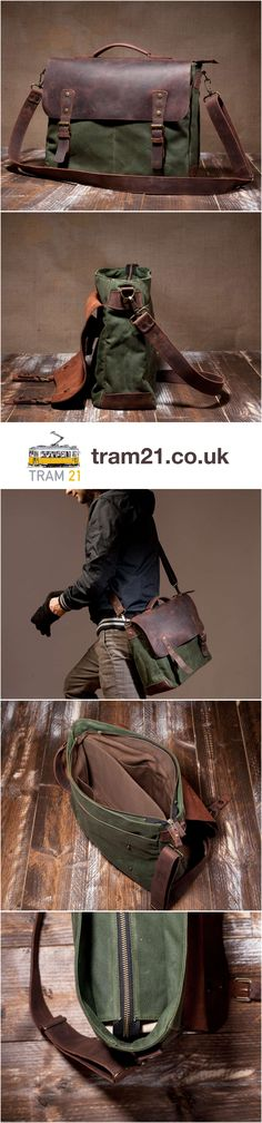 This is a messenger bag like you've never seen before, made of waterproof waxed canvas and saddle leather. It's perhaps a men's bag, but who am I to say?