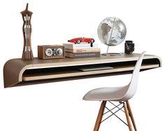 Orange22 Minimal Wall Desk / Small / Walnut Veneer contemporary-desks-and-hutches