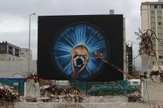Photo by Stuart Allan. By Owen dippie. On the back of Isaac Theatre Royal in Christchurch, Canterbury, New Zealand. Photo Art, Tag Art, Art Festival, Art Images, Graffiti Murals, Art, Design Art, Art And Architecture, Street Art