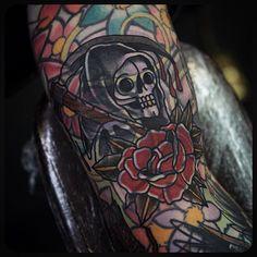Grim by Philip Yarnell (@ philipyarnelltattoos) #grimreaper #blastover #tattoos #tattoo Done at @ sbldnttt Leg Tattoos, Black Tattoos, Blast Over Tattoo, Body Is A Temple, Having A Blast, Grim Reaper, Traditional Tattoo, Body Art, Piercings