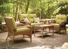 Relax In Comfort And Style With This Martha Stewart Living Charlottetown  Brown All Weather Wicker Patio Seating Set With Green Cushions.