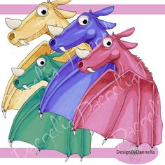 Dragon clip art hand drawn in four colours png and jpeg