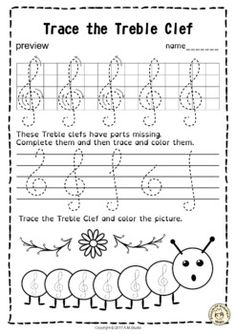 A set of 20 spring themed music worksheets is created to help your students learn to trace, copy, color and draw symbols, notes and rests commonly used in music. Practice in copying them onto their positions on the staff is provided in large size. Music Activities For Kids, Music Lessons For Kids, Music Lesson Plans, Music For Kids, Piano Lessons, Children Music, Music Math, Music Classroom, Music Theory Worksheets