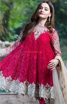 Buy Imrozia Chiffon Vie Adorée Collection – 07 -The Scarlet Dame featuring Aiman Khan at YourLibaas. Shop online for Original Party Wear Pakistani Chiffon Suits in India. ✓ Cash On Delivery Pakistani Fashion Casual, Pakistani Dresses Casual, Pakistani Dress Design, Indian Dresses, Pakistani Party Wear, Pakistani Wedding Outfits, Frock Design, Stylish Dresses, Casual Dresses