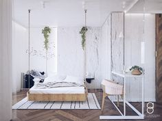 White bedroom interior design / rocking bed Rock Bed, White Bedroom, Divider, Anna, Interior Design, Furniture, Home Decor, Nest Design, Decoration Home