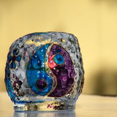 Blue and Purple Yin Yang Candle Holder Glass Painting by ArzuMusa