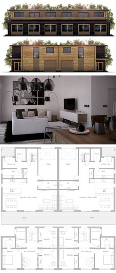 Duplex Home Plan Duplex House Design, Duplex House Plans, Best House Plans, Modern House Plans, Small House Plans, Apartment Plans, Prefab Homes, Home Design Plans, House Layouts
