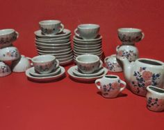 Childs Tea Set, Miniature porcelain tea set, Pretend play dishes, 39 piece china set by VtgTreasureTroves on Etsy