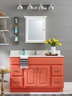 Instead of buying a new bathroom vanity, DIY it! We have a ton of ideas for flea market finds or salvaged pieces that need just a little bit of paint to transform them into unique bathroom vanities. Use an old dining room buffet or paint an oak vanity wit