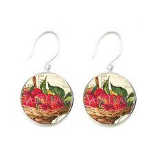 strawberry jewelry   Red Strawberry Necklace Porcelain Glass Jewelry