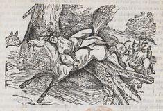 Xilografía alusiva en cabecera de un hombre desnudo y atado a un caballo, galopando, perseguido por una manada de lobos.