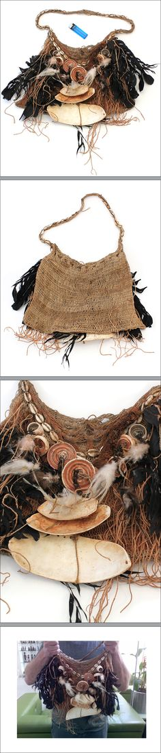 Bilum bag, New Guinea Highlands. These bags are used by both men for anything from carrying babies and belongings to catching fish. Some bags have ceremonial significance such as mourning or coming of age. This particular bag is richly decorated with feathers, different type of shells and glass beads and probably belonged to an important figure such as a great hunter, warrior or sorcerer.