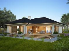 Design of the Oceania II one-story house with an area with a spacious garage, with a roof . Bungalow Haus Design, Modern Bungalow House, Rustic Houses Exterior, Bungalow Exterior, Home Building Design, Home Design Plans, House Construction Plan, Beautiful House Plans, Village House Design