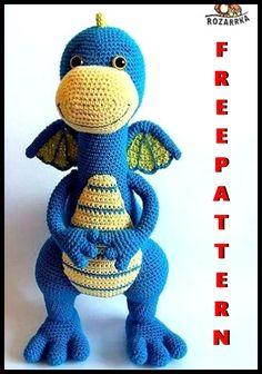 Crochet Dinosaur Pattern Free, Crochet Dragon Pattern, Crochet Amigurumi Free Patterns, Crochet Animal Patterns, Crochet Animals, Crochet Blanket Patterns, Crochet Teddy, Cute Crochet, Crochet Dolls