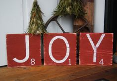JOY  Hand Painted Wood Sign  Scrabble Tiles in Red by ASign4Life, $20.00
