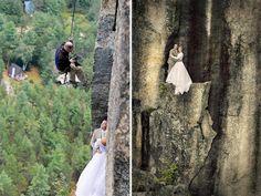 Sevocê considerava umdesafio subir numa montanha como esta, éporque nunca tentou fazer isso usando umvestido denoiva.