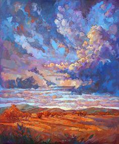 Texan Sky original oil painting impressionist dramatic sky by Erin Hanson