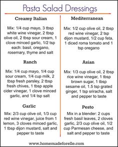 You don't have to get bored with the same ol… 6 Pasta Salad Dressing Recipes. You don't have to get bored with the same old mayo-based pasta dressing, try these 6 homemade variations to mix it up! Easy Pasta Salad, Pasta Salad Recipes, Sauce Recipes, Homemade Pasta Salad, Homemade Salad Dressings, Dishes Recipes, Homemade Sauces For Pasta, Pasta Salad Dressings, Beef Recipes