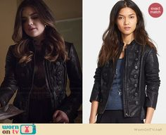 Aria's black leather military style jacket on Pretty Little Liars.  Outfit Details: http://wornontv.net/34921/ #PLL