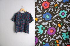 vintage '80s/'90s FLORAL print short sleeve SLOUCHY shell BLOUSE. size s m.